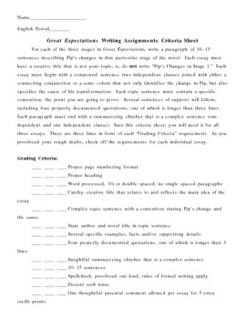 Great Expectations Writing Assignments Criteria Sheet