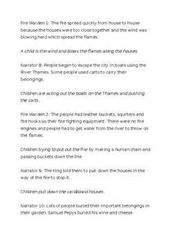 Great Fire of London Class Assembly Script