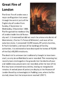 Great Fire of London Handout