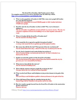 Great Fire of London 1666 Primary Source Worksheet