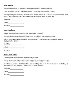 No more Boring Book Reports! Easy Follow Up Activities for Books or novels