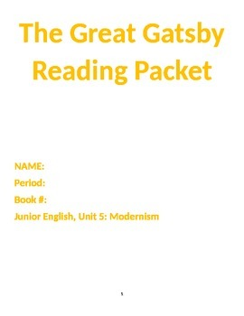 Great Gastby Reading Packet