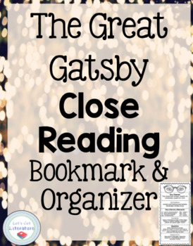 Great Gatsby Annotation Bookmark and Foldable