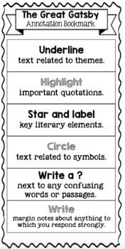 Great Gatsby Annotation Bookmark and Folding Graphic Organizer