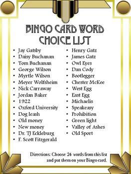 Great Gatsby Bingo