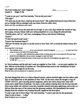 Great Gatsby Breakdown Chapter 2, Scaffolded Notes, Quote Analysis