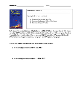 Great Gatsby: CONTRAST: Daisy and Myrtle Worksheet  ch. 2 and 3