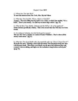 Great Gatsby Ch. 2 Quiz and Answer Key