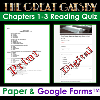 Great Gatsby - Chapters 1-3 Quiz (Key Included)