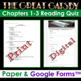 The Great Gatsby - Chapters 1-3 Reading Quiz (Print & Digital Google Form)