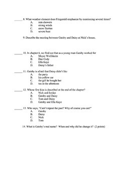 Great Gatsby - Chapters 4-6 Quiz (Key Included)