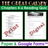 The Great Gatsby - Chapters 4-6 Reading Quiz (Print & Digital Google Form)