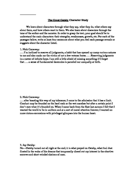 Great Gatsby Character Study