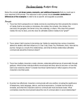 Great Gatsbyanalysis Essay Prompts Great Gatsbyanalysis Essay Prompts Essay On High School Dropouts also Essay On Modern Science  Essays For Kids In English