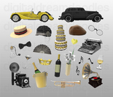 Great Gatsby Clipart - American Roaring 20s Digital PNG Graphics