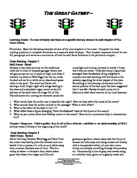 Great Gatsby Close Reading Assignment For All Nine Chapters