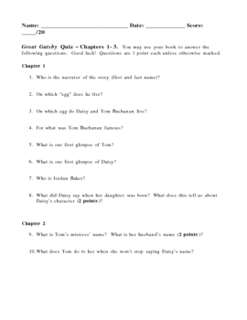 Great Gatsby Close Reading Quizzes