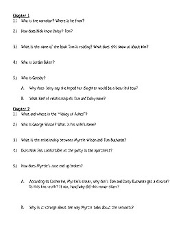 Great Gatsby: Comprehension Questions