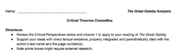 Great Gatsby Critical Theories Choice Box