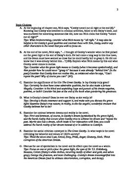 Great Gatsby Essay Assignment Sheet