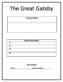 Great Gatsby Group Reading Worksheets- Literature Circles