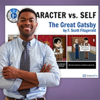Great Gatsby: Literary Conflict - Character vs. Self - Man vs. Self Poster