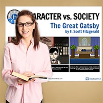 Great Gatsby: Literary Conflict - Character vs. Society - Man vs. Society Poster