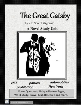 GREAT GATSBY Novel Study and Test