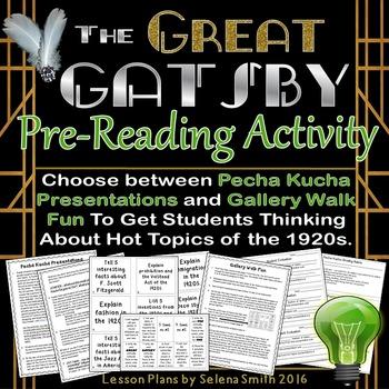 Great Gatsby Pre-Reading Activity