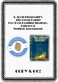 Great Gatsby: Pre/Post Reading, Quizzes, & Written Assessment