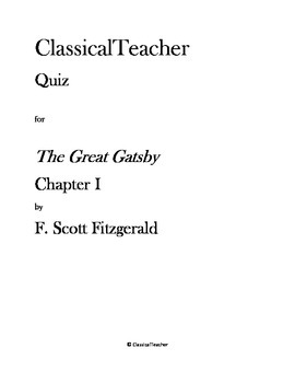Great Gatsby Quiz: Chapter I