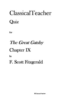 Great Gatsby Quiz: Chapter IX