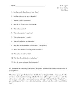 Great Gatsby Quiz - Includes Short Essay Question