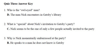 Great Gatsby Quizzes (Chapters 1-3)