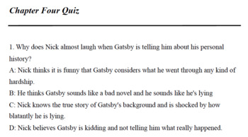 Great Gatsby Quizzes (Chapters 4-5)