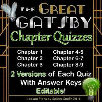 Great Gatsby Quizzes for Entire Novel