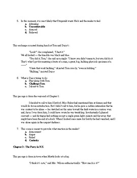 Great Gatsby Test (Common Core and/or AP Literature and Composition)