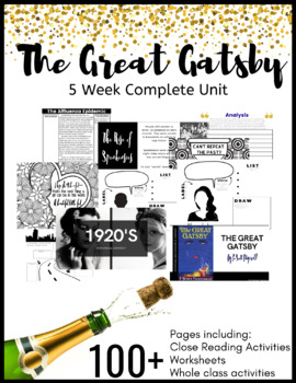 5 week Great Gatsby COMPLETE UNIT [100+ Pages}