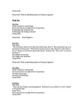 Great Gatsby Unit Lesson Plan