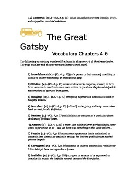 Great Gatsby Vocab