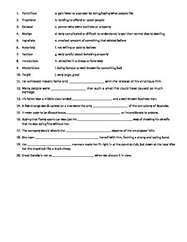 Great Gatsby Vocabulary Quiz #3