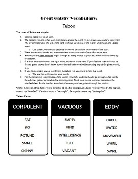 Great Gatsby Vocabulary Taboo Game