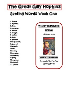 Great Gilly Hopkins Spelling/Vocab Lists