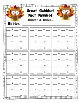 Great Gobbler Fact Families to 20