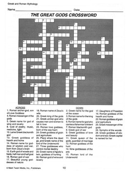 Great Gods Crossword Puzzle