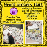 Great Grocery Hunt- Multiplying Decimals with Real World Problems TEKS 5.3E