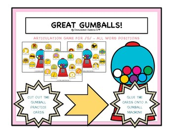 Great Gumballs! Articulation Game - /G/ Speech Sound - All Word Positions