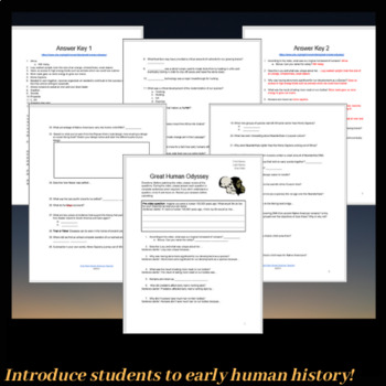 Great Human Odyssey Video Worksheet with ANSWER KEY