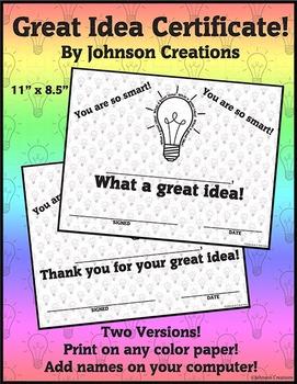 Great Idea Certificates!