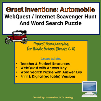 Great Inventions - The Automobile - WebQuest & Word Search Puzzle